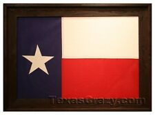 2 x 3 Foot Custom Dark Stained Current State of Texas Framed Flag