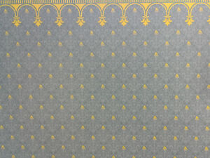 "Dollhouse Miniature Brodnax Victorian Wallpaper Blue & Gold ""Flambeau"" 1:12"