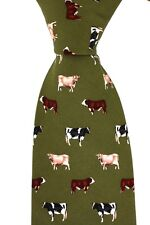 Soprano luxury green silk tie with cattle - Friesan Jersey Hereford farming cow