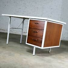 Mid Century Modern Desk by Robert John Co. Walnut White Steel Frame & Laminate