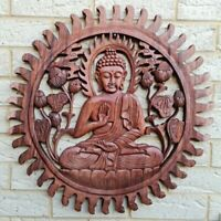 Balinese wood Buddha hand Carved  Plaque Wall art decor LARGE 60 x 60 cm