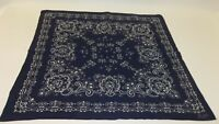 Vtg Indigo Blue Batik Soft Cotton Fast Color Biker Handkerchief Bandana