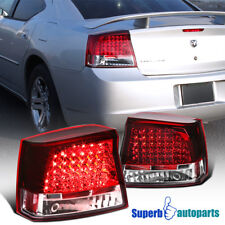 2005-2008 Dodge Charger SRT8 R/T Red/Clear Lens LED Tail Lights Brake Lamps
