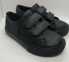 Toddler Black Ralph Lauren Polo Leather Tennis Shoes Size 7