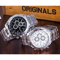 BRAND Orologio Uomo ORLANDO Polso Da Meccanico Acciaio Inox Cinturino Watch xk