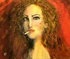 """"""" Smokin' Red"""" Original Painting~ De Martino Art"""