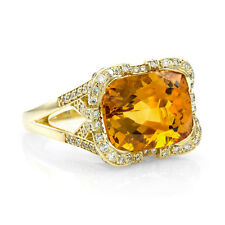 Citrine and Pave Diamond Ring in 18K Yellow Gold | FJ