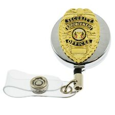 SEO Security Enforcement Officer Retractable ID Holder Badge Reel Lanyard Chrome