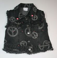 D-Sign - Girls Denim Vest Snap Front Dark Grey Peace Factory Distressed - C0108
