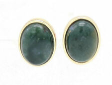 "Women's 0.47""L Gold Plated Green Agate Oval Stud Earrings"