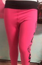zumba Leggings Pink With Black Size Medium Crop.