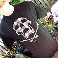 VANS Skater Brand Argyle Plaid Skeleton Skull Shirt Sz Large Black Beige Gray
