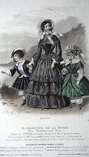 GRAVURE ANCIENNE MODE 19e - LE MONITEUR DE LA MODE - VERS 1860