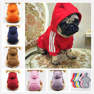 BASIC DOG HOODIE Puppy Coat Sweater Pet Sweatshirt 13 Colors 6 Sizes for Bulldog