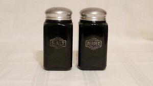 Vintage Black Amethyst McKee Block Letter Salt and Pepper Range Shaker.