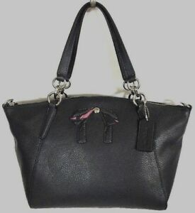 New Coach F28969 small Kelsey with Bow Pebble Leather Satchel handbag Midnight