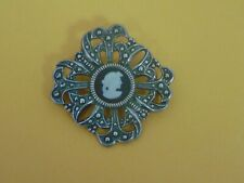 Vintage Wedgewood Jewelry Silver Mounted Pendant Brooch (31)