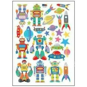 FADS Robot Theme PVC Wall Stickers Peel Stick Reusable and Removable Wall Decor
