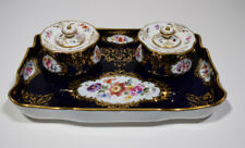Meissen Double Ink Well Hand Painted Blue with Flowers
