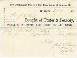 1861 Foster & Peabody Boots & Shoes Boston Billhead Victorian Fashion Business