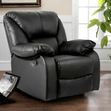 Black Leather Recliner Chair Armchair Sofa Chair Lounge Luxury Reclining UK NEW