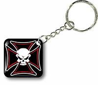Porte clés clefs keychain voiture moto biker motard croix de malte tete de mort