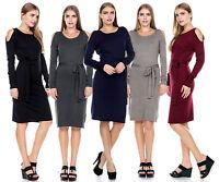 Women's Autumn Winter Long Sleeve Casual Belt Knit Slim Vintage Sweater Dress