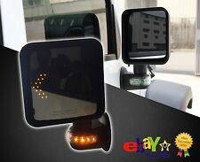 Rear Side-Mirrors in Pair for Jeep, Black Enamel with LED and indicator lights