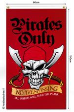 PIRATE FLAG SKULL SWORDS RED NO TRESPASSING KIDS PARTY GAMES DOOR HANGING BANNER