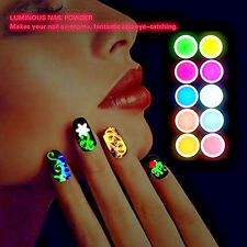 New UV Nail Gel Polish Art Glitter Set Kit Powder Dust Glow In The Dark 10 Pcs