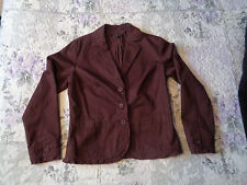 Laura Ashley size 12 Business smart Fitted jacket brown frayed edges 100% cotton