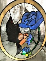 "Stained Glass Window Oval Panel 20"" Long, 15"" wide Hummingbird"