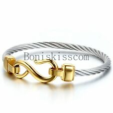 Love Infinity Symbol Charm Stainless Steel Cable Women's Cuff Bangle Bracelet