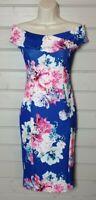 QUIZ Blue Pink White Floral Stretch Scuba Pencil Wiggle Bardot Dress 8 Occasion