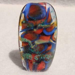 DENMAN Handmade Art Glass Focal Bead Flaming Fools Lampwork Art Glass SRA