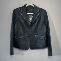 Willi Smith black genuine lamb leather studded motorcycle jacket Large NWT
