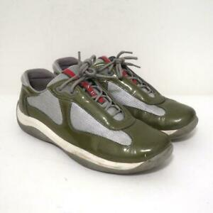 Prada America's Cup Sneakers Olive Patent Leather & Gray Mesh Size 38.5