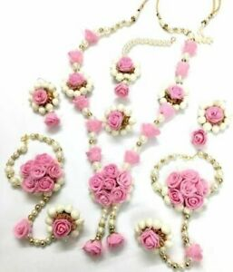 Artificial Flower Jewelry Bridal Pearl Jewelry Set Indian Wedding Floral Set 7Pc