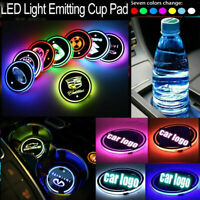 2 x Car Logo Cup Coaster 7 Colors Changing Mat Cup Pad Interior Atmosphere Lamp