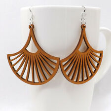 Woman Wooden Earrings Pendant 2.4x2.4'' E53 1 pair Good Quality Round Hollow