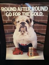 Vtg Coors Banquet Beer Round For Round Bulldog Boxer Boxing Beer Poster Man Cave