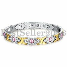 Stainless Steel Silver&Gold Magnetic Health Therapy Women Bangle Bracelet 8.46""