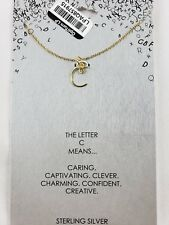 Womens' Sterling Silver Letter c Script Initial Pendant Necklace Gold 18in New
