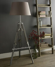 Nautical Grey Floor Lamp Wooden Tripod Lighting Stand