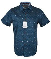 NEW Robert Graham Men's $178 CUTLASS Skull Print Short Sleeve Sports Shirt