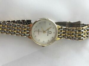 Vintage Omega De Ville Quartz women's Watch with Silver and gold band