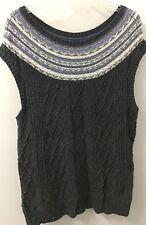 Tommy Hilfiger M Gray Sleeveless Cotton Angora Cable Knit Sweater Tunic Euc