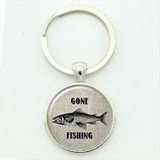 Silver Gone Fishing Keyring Gift Fathers Day