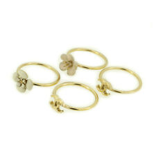 CHANEL ring here mark camellia white pink gold-plated Auth used T17651