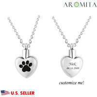 Personalized Custom Pet Paw in My Heart Memorial Cremation Keepsake Urn Necklace